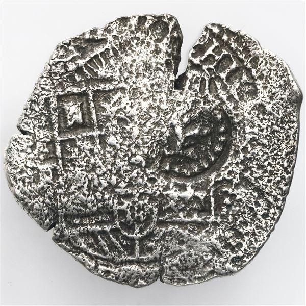 Potosi, Bolivia, cob 8 reales, 1651E (modern 5), with crown-alone countermark on shield.