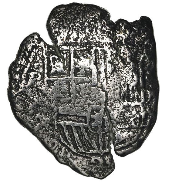 Potosi, Bolivia, cob 8 reales, 1651E, with crowned-O countermark on cross.