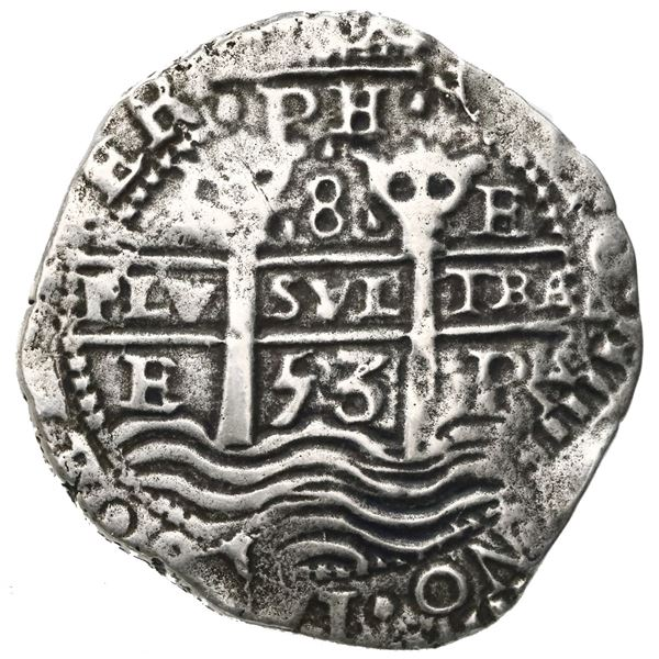 Potosi, Bolivia, cob 8 reales, 1653E, dot-PH-dot at top, three-digit date below cross.