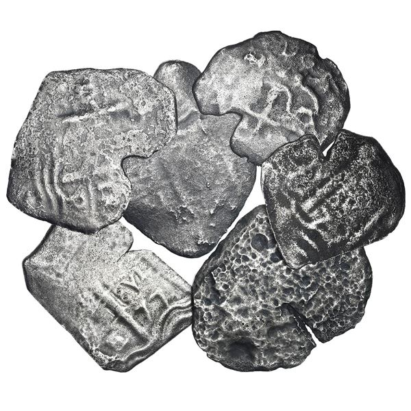 Lot of six Potosi, Bolivia, cob 4 reales (five) and 2 reales (one), Charles II, various dates and as