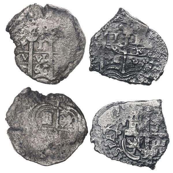 Lot of two Potosi, Bolivia, cob 1R, 1660E and 1674E.