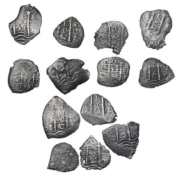 Lot of thirteen Potosi, Bolivia, cob 1R, Charles II, various dates and assayers.