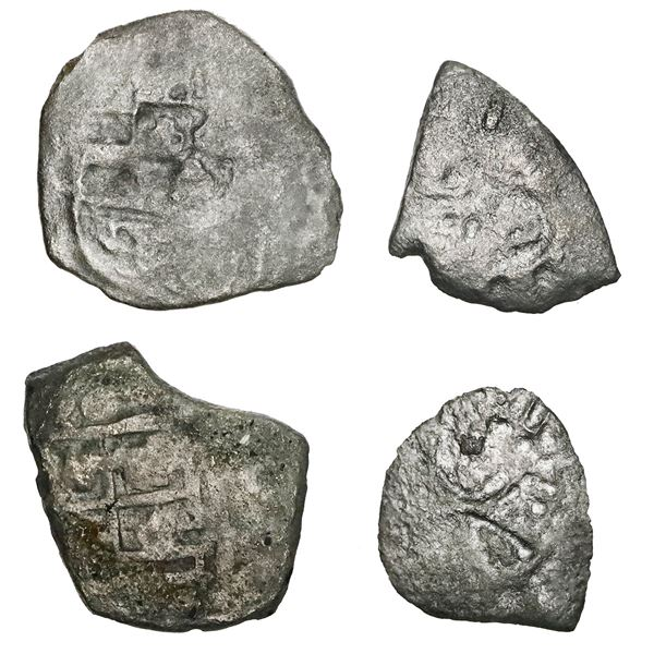 """Lot of four Mexico City, Mexico, cob 1R, Philip V, assayers not visible, some """"Tricentennial Hoard."""""""