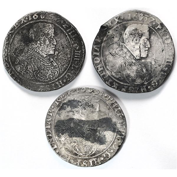 Lot of three Brabant, Spanish Netherlands, portrait ducatoons of Philip IV, dates as follows: 1637,