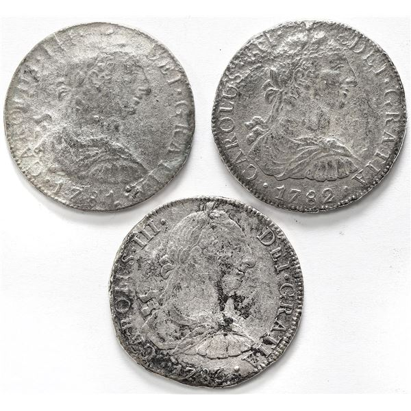 Lot of three Mexico City, Mexico, bust 8 reales, Charles III, assayer FF, dated 1781, 1782 and 1783,