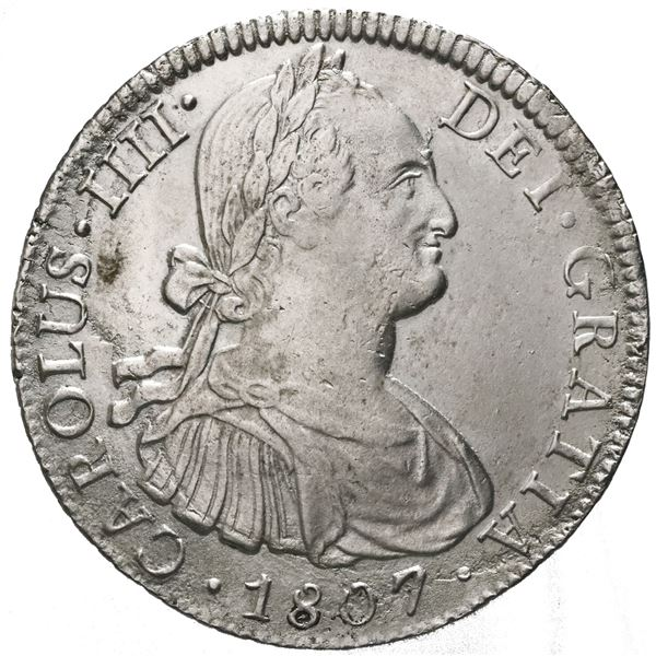 Mexico City, Mexico, bust 8 reales, Charles IV, 1807TH.
