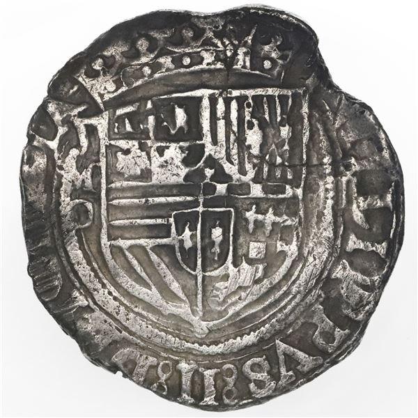 Mexico City, Mexico, cob 4 reales, Philip II, assayer O below mintmark oM to left, denomination oIII
