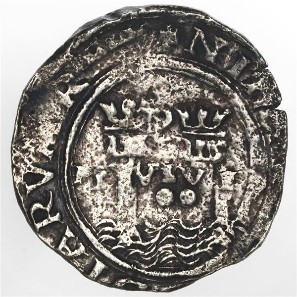 Lima, Peru, 2 reales, Philip II, assayer R (Rincon) to left, motto as PL-VSV-TR, rare, ex-Jones.