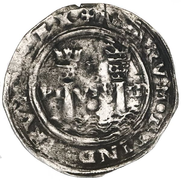 Lima, Peru, 1 real, Philip II, assayer R (Rincon), motto as PL-VSV-TR (no L) above denomination (dot