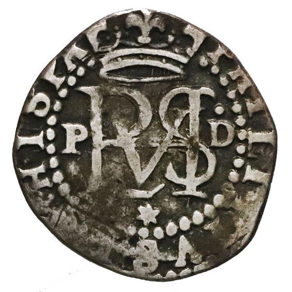 Lima, Peru, cob 1/2 real, Philip II, assayer Diego de la Torre, P to left, dot-D to right, star at b