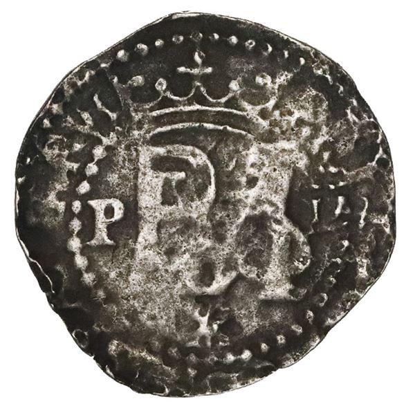 Lima, Peru, cob 1/2 real, Philip II, assayer Diego de la Torre, P to left, oD to right, V/A (makeshi