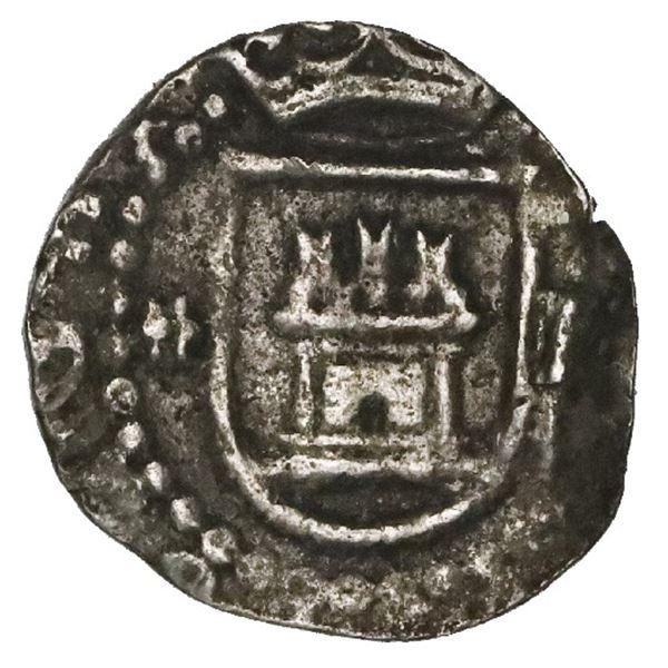 Lima, Peru, cob 1/4 real, Philip II, assayer Diego de la Torre, * to left, P to right of castle.