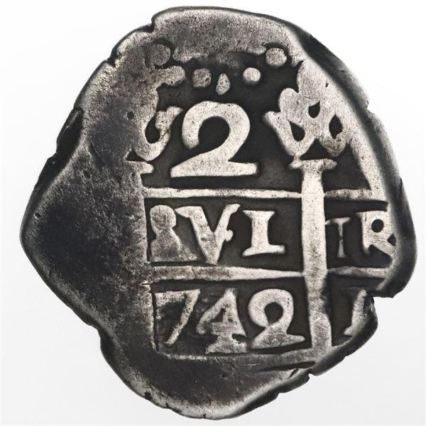 Lima, Peru, cob 2 reales, 1742(V).