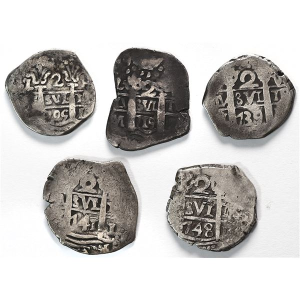 Lot of five Lima, Peru, cob 2 reales of Philip V and Ferdinand VI: 1705H, 1719M, 1739V, 1741(V) and