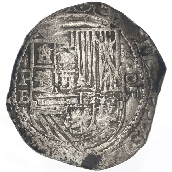 Potosi, Bolivia, cob 8 reales, Philip II, assayer B (5th period), borders of x's on both sides.