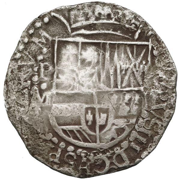 Potosi, Bolivia, cob 8 reales, Philip III, assayer M (pre-dated issue).