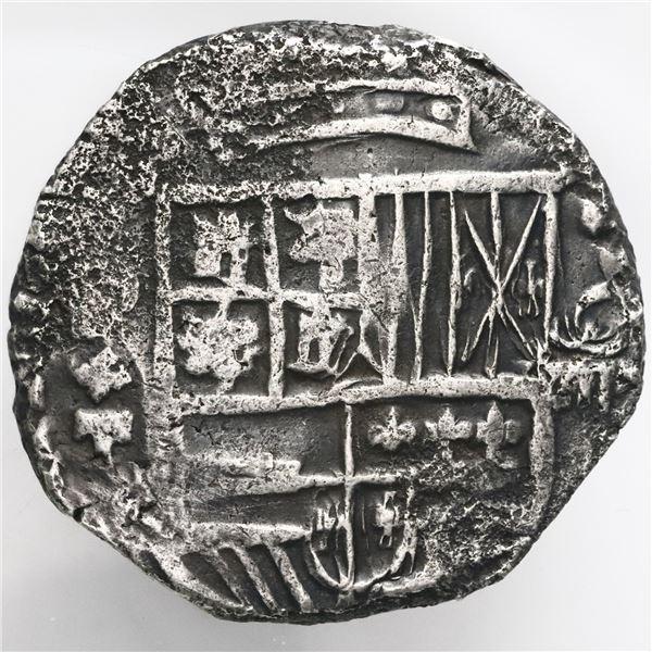 Potosi, Bolivia, cob 8 reales, Philip III, assayer T, quadrants of cross transposed.