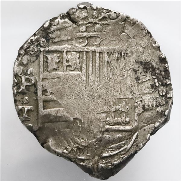 Potosi, Bolivia, cob 8 reales, Philip IV, assayer T (mid-1620s), quadrants of cross transposed.