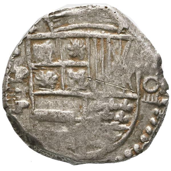 Potosi, Bolivia, cob 8 reales, Philip IV, assayer P (mid-1620s), quadrants of cross transposed, erro