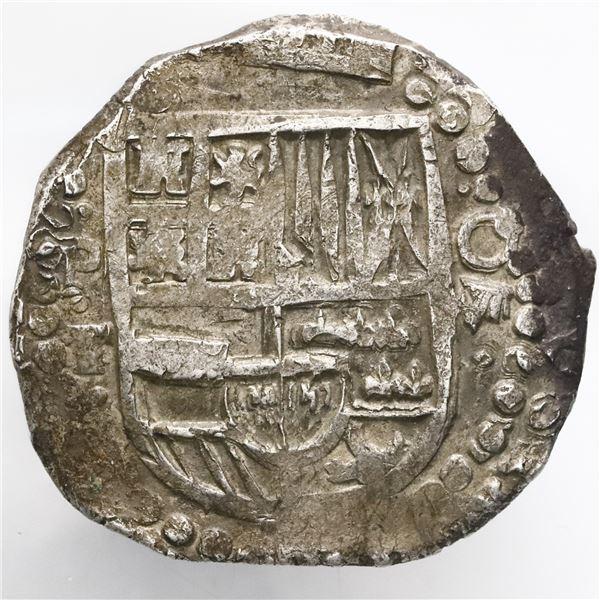 Potosi, Bolivia, cob 8 reales, Philip IV, assayer T (late 1620s).