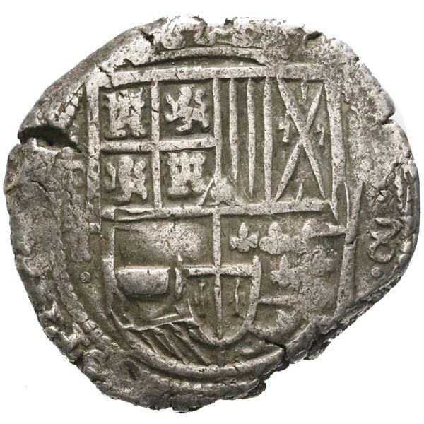 Potosi, Bolivia, cob 8 reales, Philip IV, assayer T (1629), denomination 8, fine-dot borders.