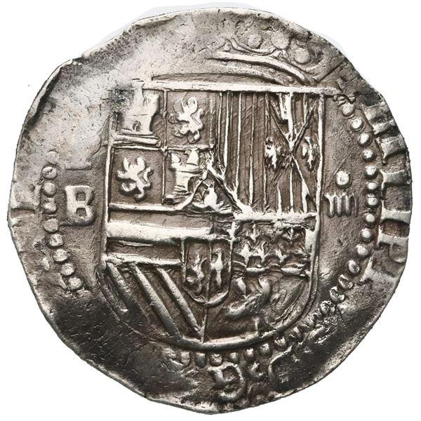 Potosi, Bolivia, cob 4 reales, Philip II, assayer B (2nd period).