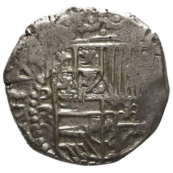 Potosi, Bolivia, cob 2 reales, Philip III, assayer RL (curved leg).