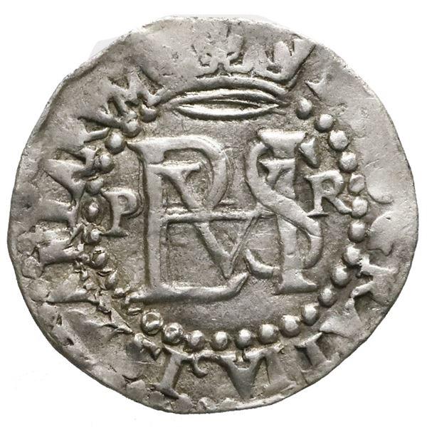 Potosi, Bolivia, cob 1/2 real, Philip II, assayer R (Rincon) to right.