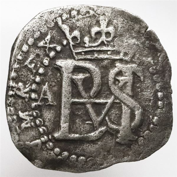 Potosi, Bolivia, cob 1/2 real, Philip II, assayer A to left.