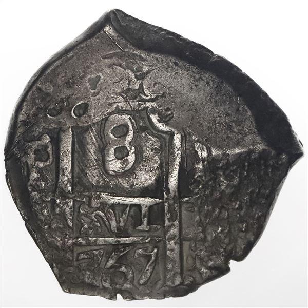Potosi, Bolivia, cob 8 reales, 1767V-(Y).