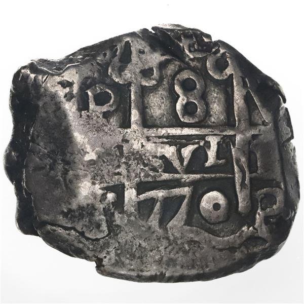 Potosi, Bolivia, cob 8 reales, 1770V-(J?).