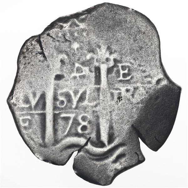 Potosi, Bolivia, cob 4 reales, 1678E, retrograde-4 denomination, ex-Consolacion (1681).
