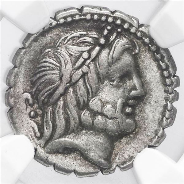 Roman Republic, serrate AR denarius, Q. Antonius Balbus, 83-82 BC, Rome mint, NGC Choice VF, strike