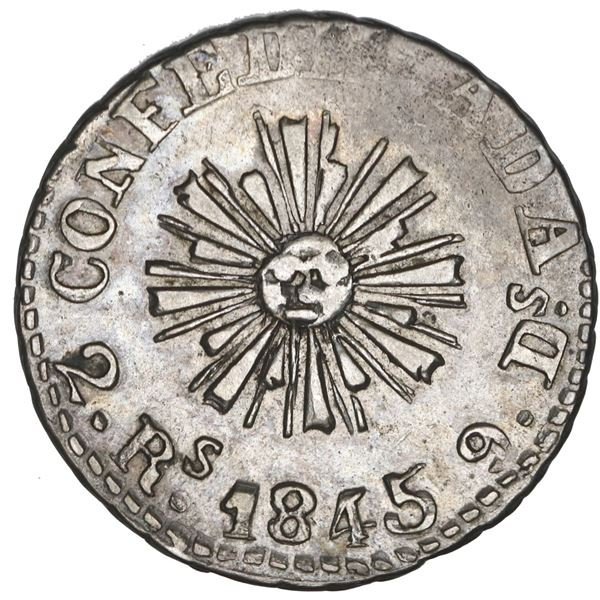 Cordoba, Argentina, 2 reales, 1845 2.Rs. 9.Ds, flag right, NGC XF details / cleaned, ex-Carter, ex-O
