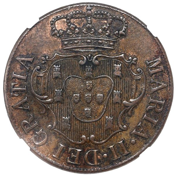 Terceira Island, Azores (under Portugal), copper X reis, Maria II, 1830, NGC AU 58 BN.