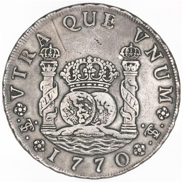 Potosi, Bolivia, pillar 8 reales, Charles III, 1770JR, dot after king's name, NGC XF details / plugg