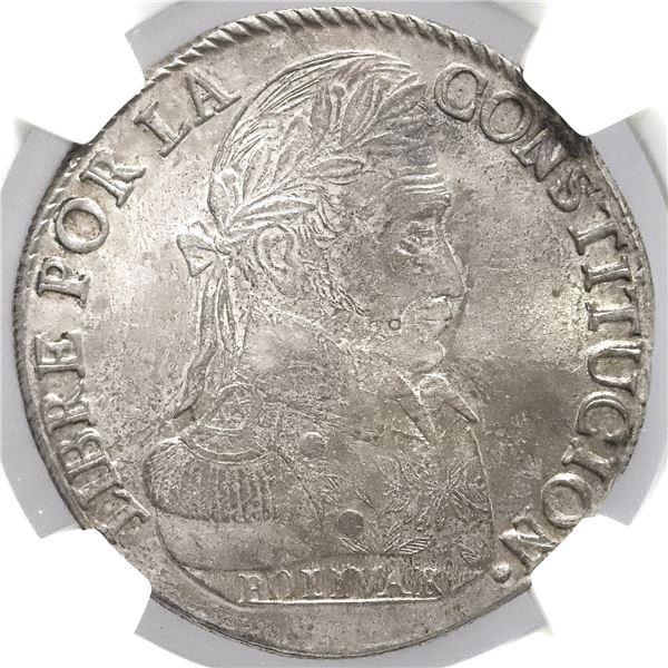 Potosi, Bolivia, 8 soles, 1837LM, NGC AU 58.