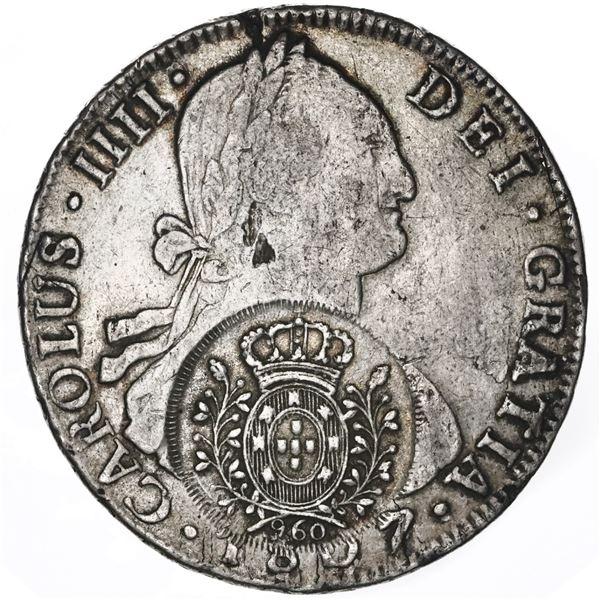 Brazil (Minas mint), 960 reis, Joao Prince Regent, arms double countermark (1808-10) on a Potosi, Bo