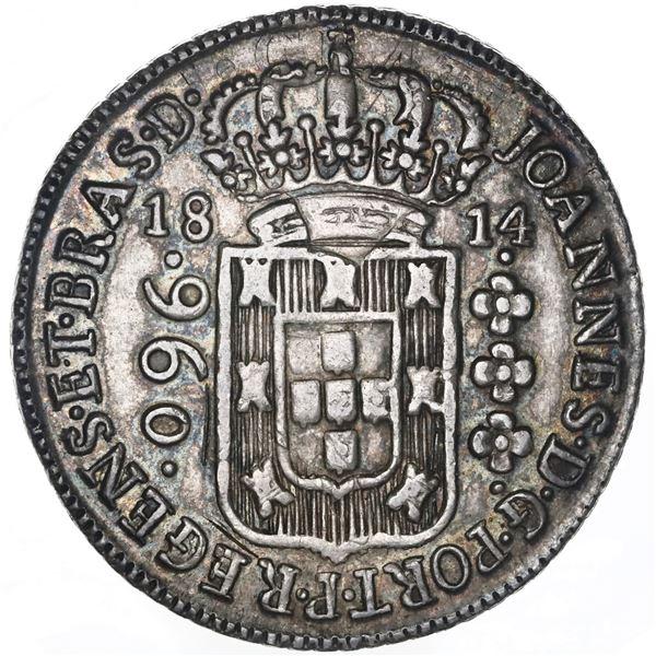 Brazil (Bahia mint), 960 reis, Joao Prince Regent, 1814-B, struck over a Mexico City, Mexico, bust 8