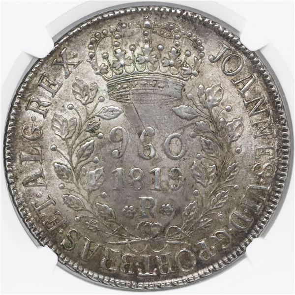 """Brazil (Rio mint), 960 reis, Joao VI, 1819-R, struck over a Santiago, Chile, """"volcano"""" peso (1817-18"""
