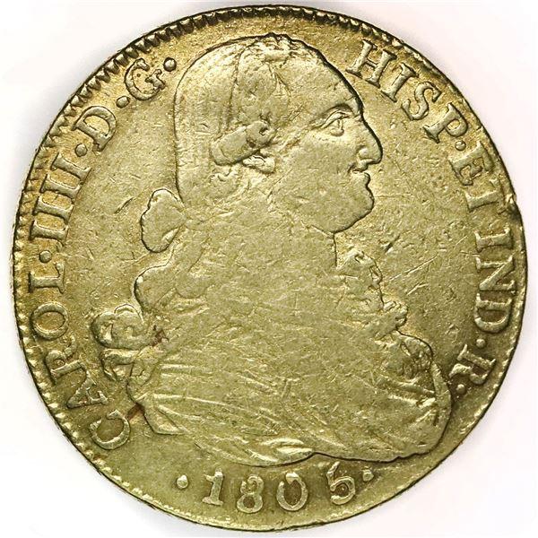 Bogota, Colombia, gold bust 8 escudos, Charles IV, 1805JJ.