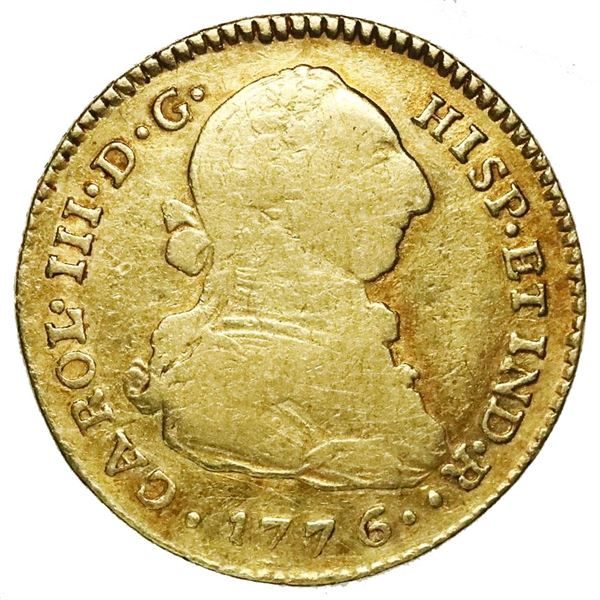 Popayan, Colombia, gold bust 2 escudos, Charles III, 1776SF.