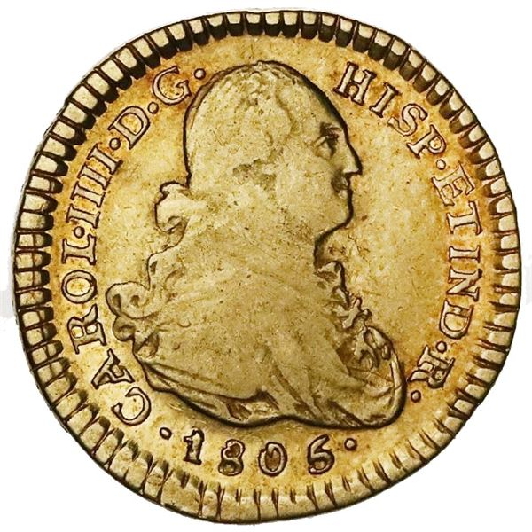 Popayan, Colombia, gold bust 1 escudo, Charles IV, 1805/4JT.
