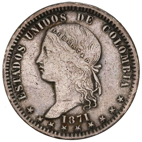 Bogota, Colombia, 1 peso, 1871, NGC AU details / cleaned.