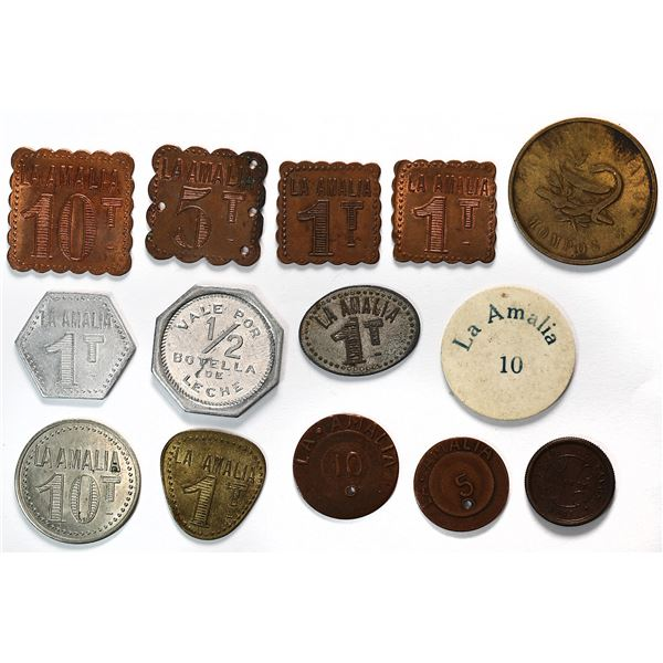 Lot of 46 Colombian tokens, various dates and denominations (1800s-1900s).
