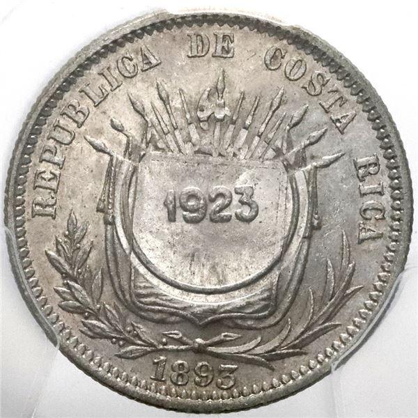 Costa Rica, 50 centimos, 1923 counterstamp (Type VIII) on a Costa Rico 25 centavos 1893-HEATON-BIRMM
