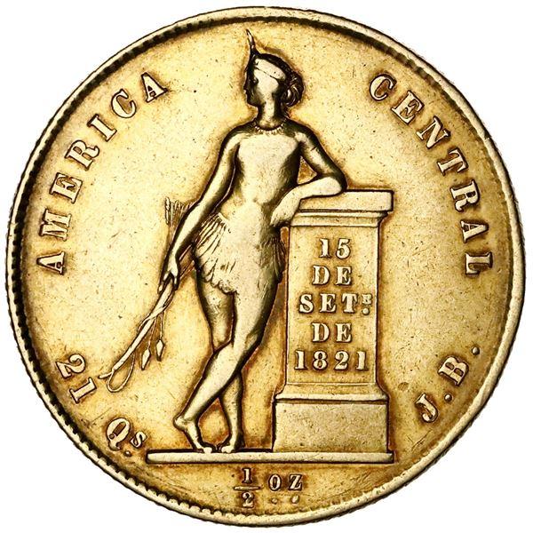 Costa Rica, gold 1/2 onza (4 escudos), 1850JB.