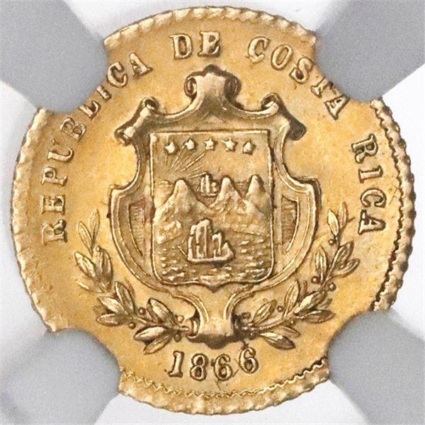"""Costa Rica, gold 1 peso, 1866GW, small """"UN,"""" with fineness, NGC AU 58."""