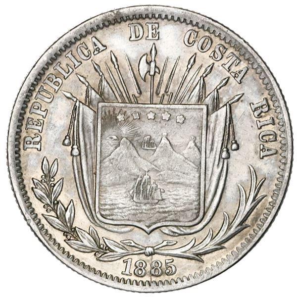 Costa Rica, 50 centavos, 1885GW, no initials below wreath.