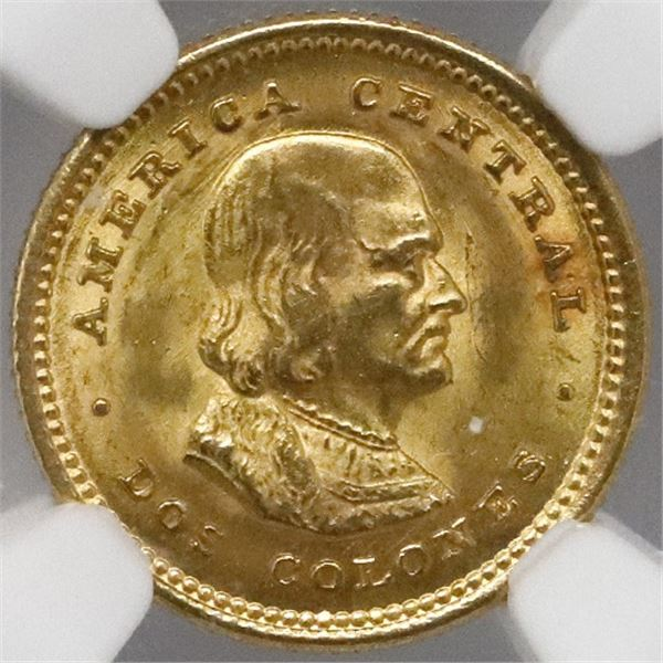 Costa Rica, gold 2 colones, 1922, NGC MS 66.